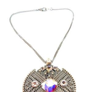 GASOLINE GLAMOUR Jewelry - CRYSTAL OPAL IRON WORK MEDALLION NECKLACE NEW